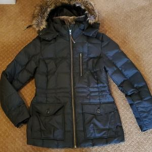 Eddie bauer down jacket black fur hooded small